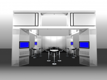 television show: 3d render of a blank trade exhibition booth with display and meeting area Stock Photo