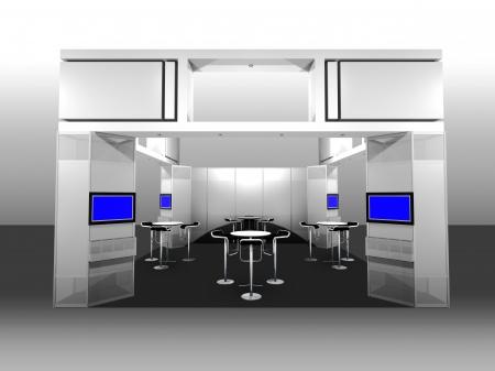 3d rendre d'un stand d'exposition commerciale vierge avec écran et salle de réunion