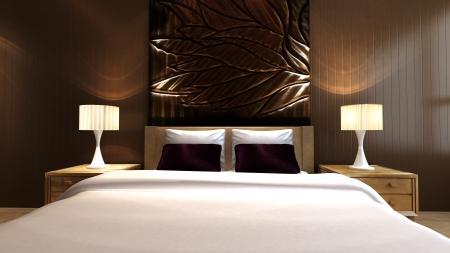 Luxury bedroom in minimalist style Stock Photo