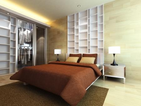 Chambre à coucher moderne dans un style minimaliste Banque d'images