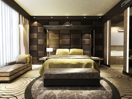 hotel suite: Modern bedroom of residences or hotels in minimalist style