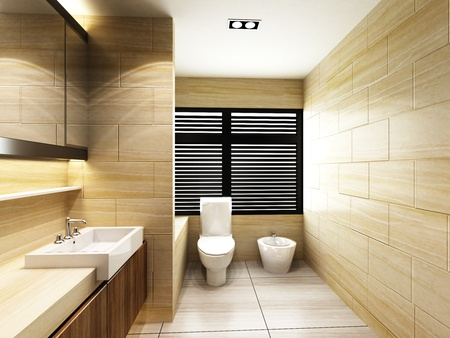 Toilettes dans salle de bains Banque d'images