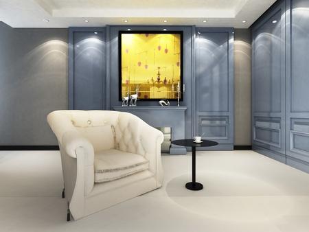 A contemporary elegant sofa in an interior photo