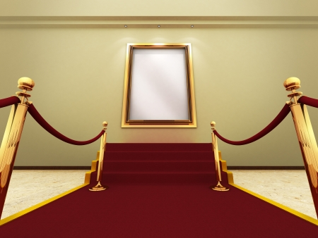 Cadre photo or dans une grande galerie