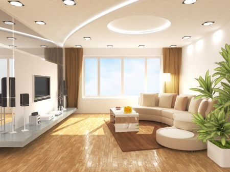 ceiling lamps: Living room Stock Photo