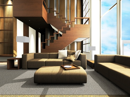 Sofa area of a modern living room photo