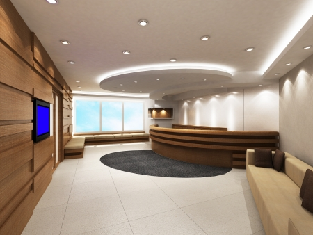 bank interior: Office Entrance Area with reception counter
