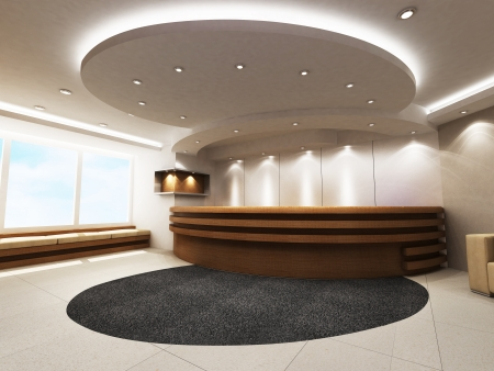 bank interior: Reception Counter