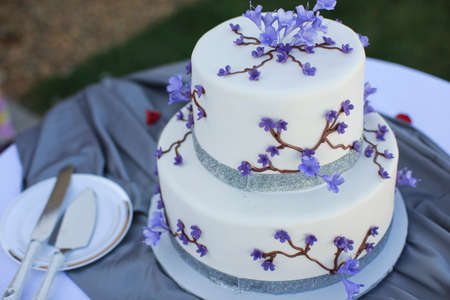 Wedding cake Purple and white Stock Photo