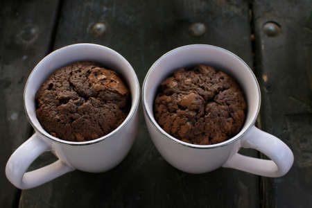 quark: Two Chocolate souffl� in a cup  Stock Photo