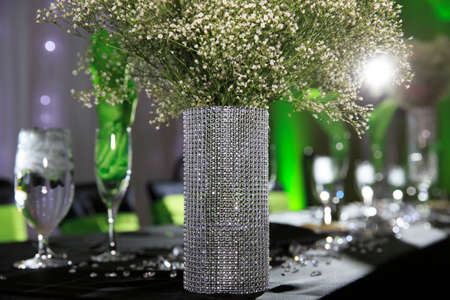 wedding reception decoration: Green wedding decor Stock Photo