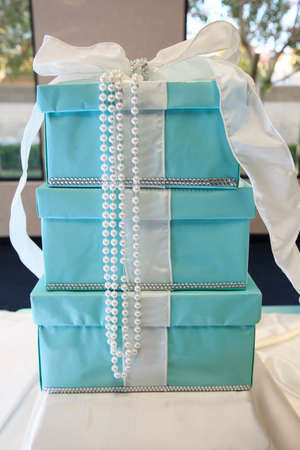 mitzvah: blue gift box on a wedding day Stock Photo