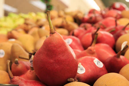 Group of pears in the supermarket
