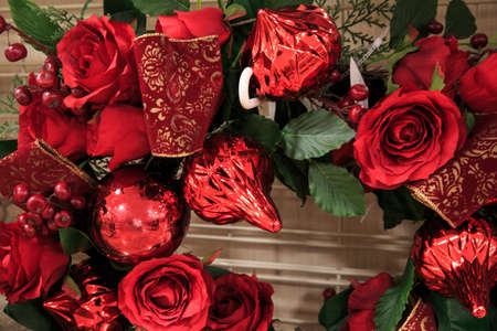Red plastic flowers for christmas