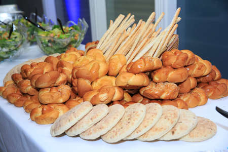 bar mitzvah: Pita and bread on a table