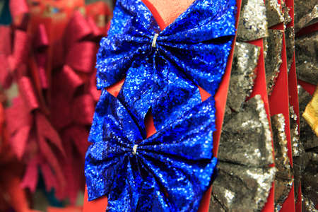 event party festive: Two glossy blue bows for christmas