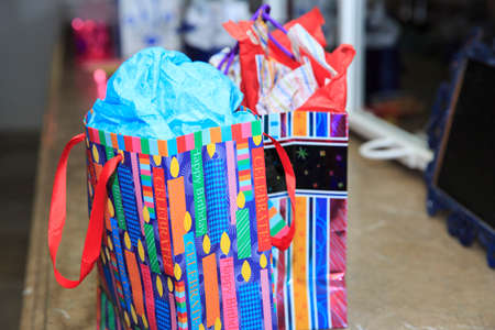 bar mitzvah: Colorful birthday bag Stock Photo