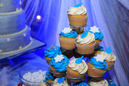 chanukkah: Blue cupcakes on a wedding day