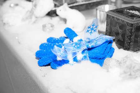 mitzvah: Blue gloves on black & white background