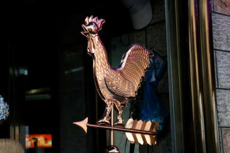 rooster weather vane: Chicken copper weathervane Stock Photo
