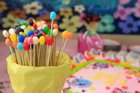 mitzvah: Group of colorful candy for a birthday party Stock Photo