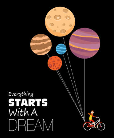 Everything starts with a dream. Inspirational quote about dream
