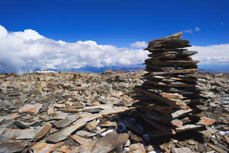 Pile of rocks stone in mountains. Pyramid of stones. Altay Russia.
