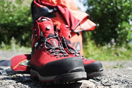 crampons: boots of the climber in the mountains