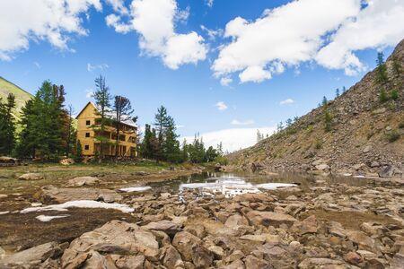 wooden hotel in the mountains near the lake, Republic Altai, Aktru