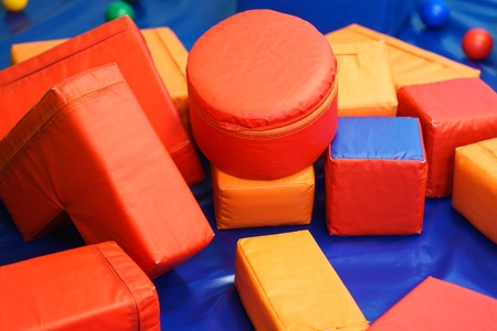 entertainment center: Soft colorful cubes in the entertainment center. Stock Photo