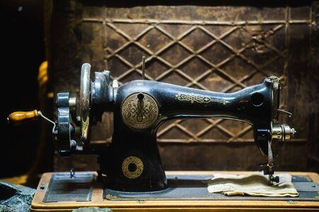 broaching: old sewing machine the Chaika. vintage sewing machine Stock Photo
