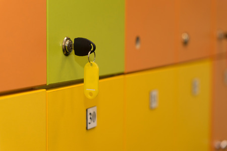 colorful lockers with key. background. clouse up Stock Photo