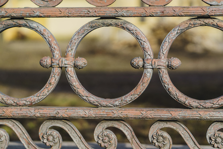 classic decorative fences in street saint-petersburg, Russia. close up Stock Photo