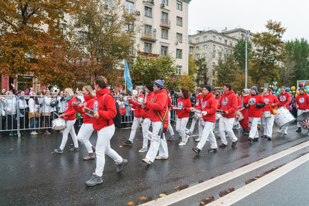 MOSCOW, RUSSIA, 14 OCTOBER 2017: Carnival parade in Moscow dedicated to the 19th World Youth Day and students.
