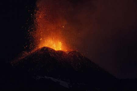 Strombolian activity, Etna Banco de Imagens