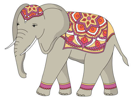 Indian decorated elephant. Vector illustration isolated on white background.