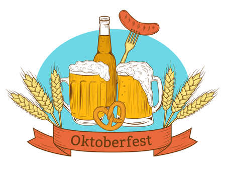 Colorful beer bottle and mugs, sausage, pretzel ,wheat. Hand drawing for beer craft, Oktoberfest Festival. Vector.