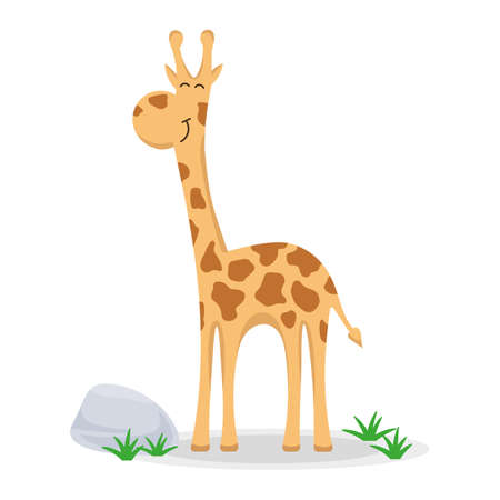 Giraffe in a cartoon style. Funny giraffe flat vector isolated on white. African fauna. Illustration