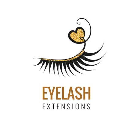 Eyelash extension with gold glitter logo design. Vector illustration. Vectores