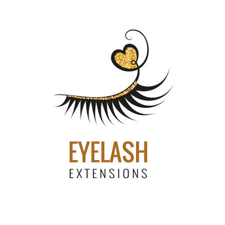 Eyelash extension with gold glitter logo design. Vector illustration.