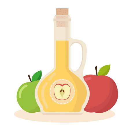 Icono plano de vector de vinagre de sidra de manzana. Botella aislada de vinagre con manzanas sobre fondo blanco. Ilustración de vector.