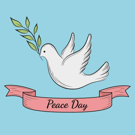 Journée internationale de la paix. Colombe de la paix avec branche d'olivier sur fond bleu. Modèle de carte postale, affiche ou bannière web.