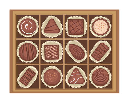Vector illustration of chocolates candies in a box. Reklamní fotografie - 108323551