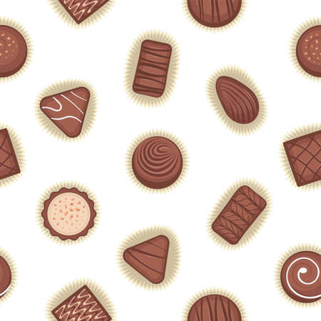 Seamless pattern with chocolate candies. Chocolate candy vector.