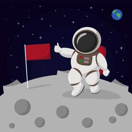 Astronaut stand on the moon with a flag. Human spaceman. Vector illustration.