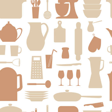Seamless vector pattern. Kitchen background. Cooking utensils and kitchen tools. Seamless kitchen vector background with icons.