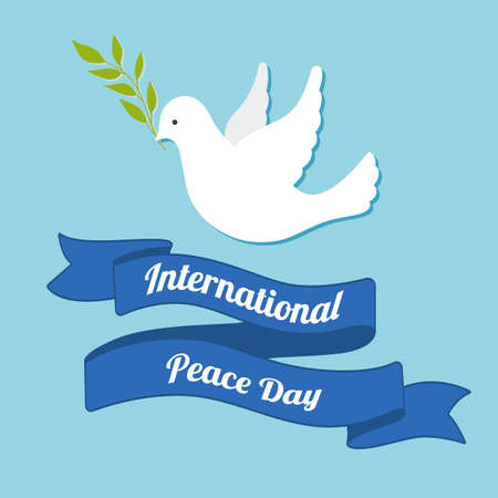 International Day of peace. Dove of peace with olive branch on blue background. Postcard, poster or web banner template.