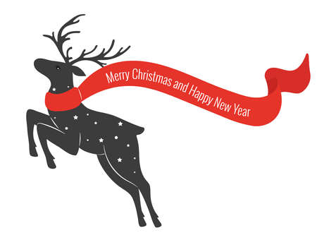 Christmas deer with scarf. Deer in jumping. Merry Christmas and Happy New year.