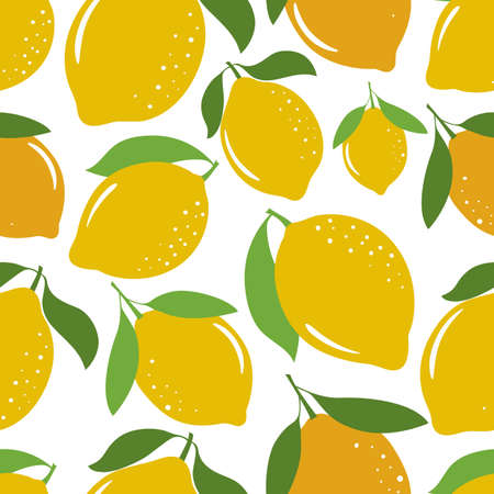 Seamless pattern with yellow lemons. Seamless pattern with citrus fruits collection. Vector illustration. Stock Illustratie