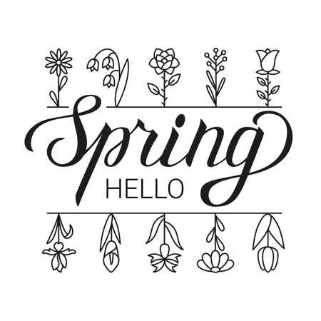 Hello spring lettering and flowers icons. Design for holiday greeting card. Vector illustration.